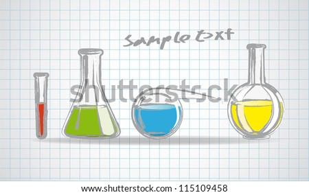 Laboratory glassware sketch eps 10 vector illustration - stock vector