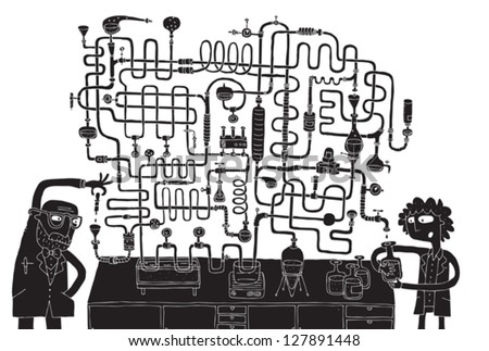 Laboratory Maze Game in black and white with isolated layers. Task: Find the right way! Solution is in hidden layer. Illustration is in eps8 vector mode! - stock vector