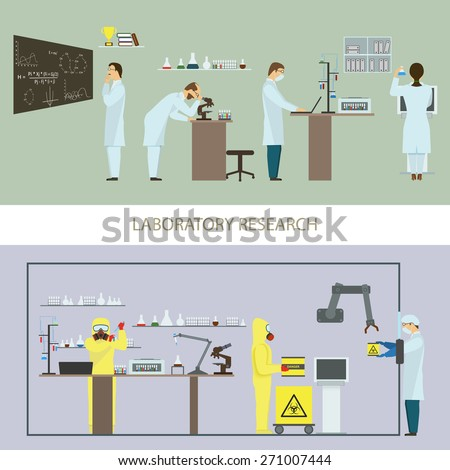 Laboratory Research by Group of Scientists. Vector Illustration. - stock vector