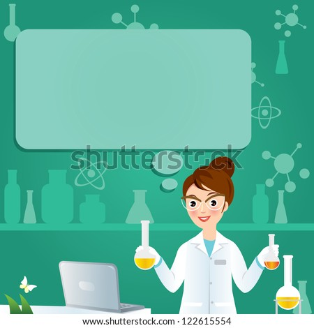 Laboratory researcher - Isolated scientist woman in lab coat with chemical glassware - stock vector