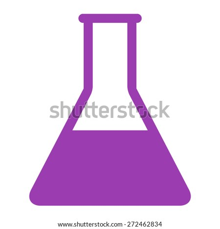 Laboratory test tube beaker flat icon for apps and websites - stock vector