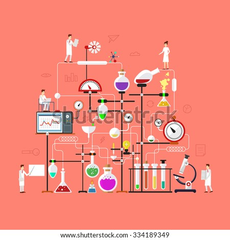 Laboratory Workspace And Science Equipment Concept Chemistry Physics Biology Flat Design Vector
