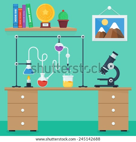 Laboratory workspace and workplace concept. Flat design style vector illustration icons set of science and technology development. - stock vector