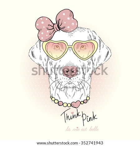 labrador girl doggy portrait in pink glasses, hand drawn graphic