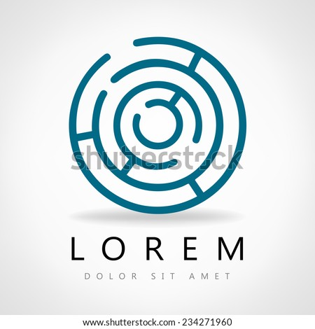 Labyrinth abstract. Puzzle rebus logic. Vector icon. - stock vector