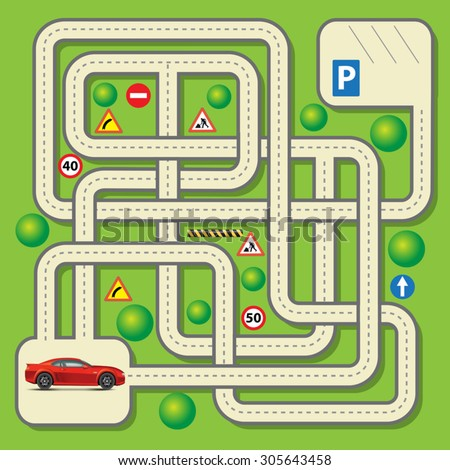 Labyrinth education game for children with car. Vector illustration - stock vector