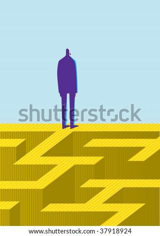 labyrinth escape - stock vector