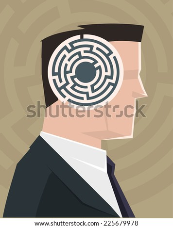Labyrinth Man Mind vector illustration. - stock vector