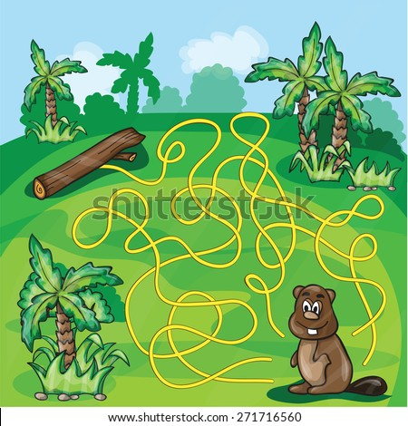 Labyrinth maze for kids - help the beaver find a way - game vector illustration - stock vector