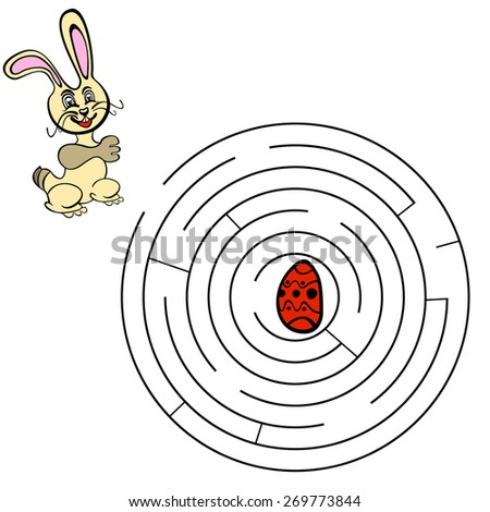 Labyrinth maze game. Find a way for rabbit. For kids. Vector illustration - stock vector