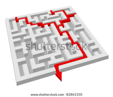 Labyrinth - maze puzzle for solution or success concept. Rasterized version also available in gallery - stock vector