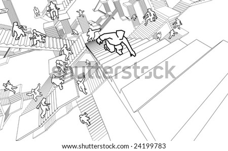 labyrinth of stairs - stock vector