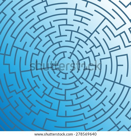 Labyrinth on blue background. Illustration Vector. - stock vector