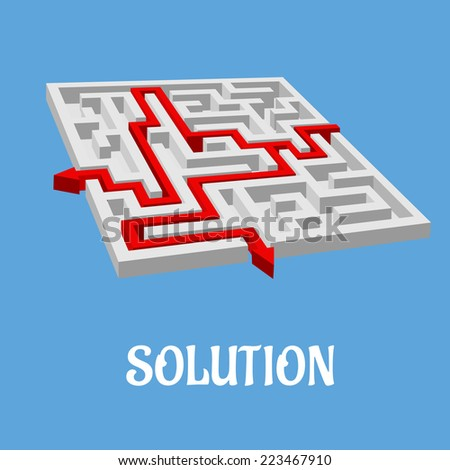 Labyrinth puzzle or maze with two solutions shown with red arrows, vector illustration on blue - stock vector