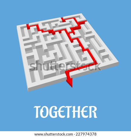 Labyrinth puzzle showing two alternative routes with two entry points combining for only one exit as shown by a red arrow, vector illustration - stock vector