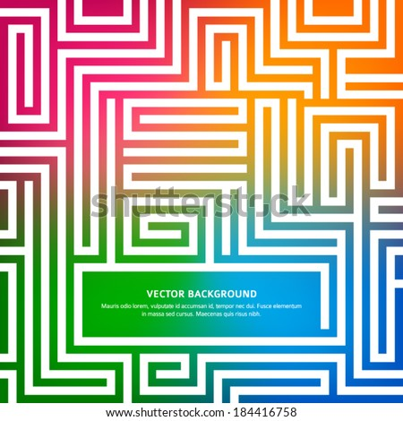 Labyrinth texture and place for your text isolated on rainbow glowing background. Vector illustration EPS 10. Success concept business maze & solving a problem and finding the best creative solution  - stock vector