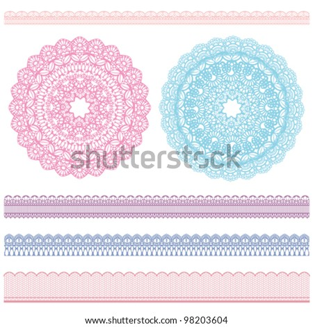 lace and doily - stock vector