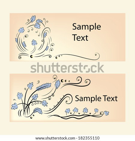 Lace banners with blue flowers and pearls