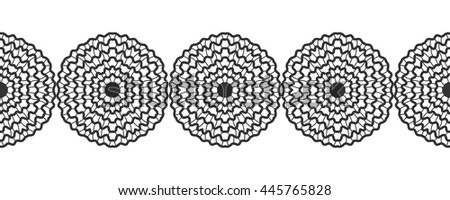 Lace. Black silhouette. Seamless pattern of round ornament. Snowflakes. Vector