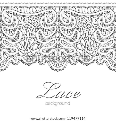 Lace border, realistic horizontal seamless vector pattern - stock vector