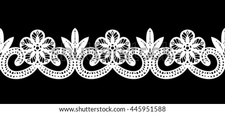 Lace / Doily border, hand made cutout, wedding decor, design element, vector illustration - stock vector
