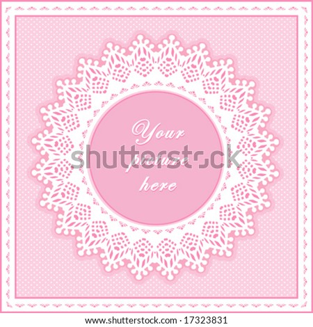 Lace Doily Frame. Vintage white eyelet design pattern, round copy space, pink polka dot background for albums, scrapbooks, diy.  EPS8 includes pattern swatch that will seamlessly fill any shape. - stock vector
