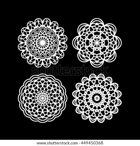 Lace / Doily, hand made cutout, wedding decor, plotter design element, vector illustration - stock vector