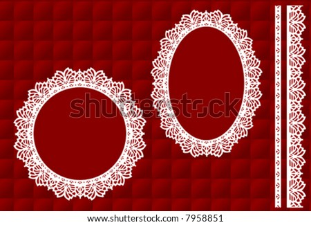 Lace Doily Picture Frames, Vintage Eyelet Trim, quilted red satin background, antique designs, copy space for do it yourself albums, scrapbooks, arts, crafts, Christmas. EPS8 compatible.  - stock vector