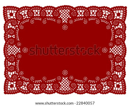 Lace Doily Place Mat. Antique scalloped border design, vintage pattern, red background for Christmas, Valentine's Day, setting table, scrapbooks, cake decorating, copy space. EPS8 compatible. - stock vector