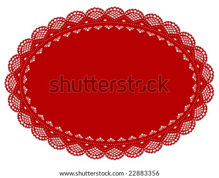 Lace Doily Place Mat, vintage design pattern. Antique oval scalloped border table setting for Christmas, Valentines Day, holidays, decorating, cake decorating, scrapbooks, copy space. EPS8 compatible. - stock vector