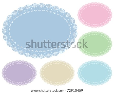 Lace Doily Place Mats, antique vintage design pattern in 6 pastel colors with oval copy space, for setting table, cake decorating, holidays, crafts, scrapbooks, baby albums. EPS8 compatible. - stock vector