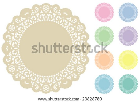 Lace Doily Place Mats, antique vintage design pattern in 9 pastel colors with round copy space, for setting table, cake decorating, holidays, crafts, scrapbooks, albums. EPS8 compatible. - stock vector