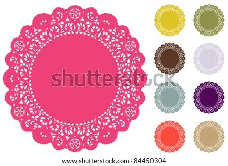 Lace Doily Place Mats, antique vintage design pattern, 9 modern Pantone fashion colors, round copy space, for setting table, cake decorating, holidays, crafts, scrapbooks, albums. EPS8 compatible. - stock vector