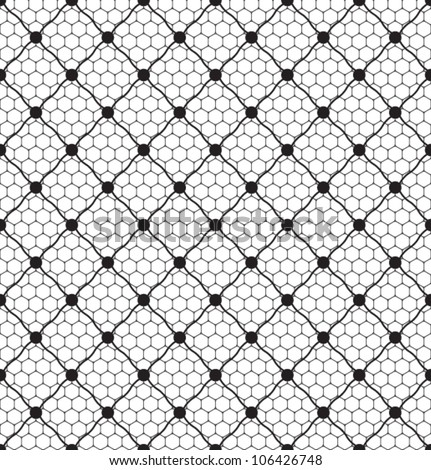 lace dotted veil seamless pattern on net background - stock vector