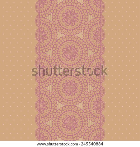 Lace endless ribbon. Vector illustration - stock vector
