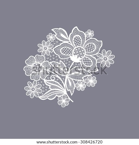 lace floral background decoration element - stock vector