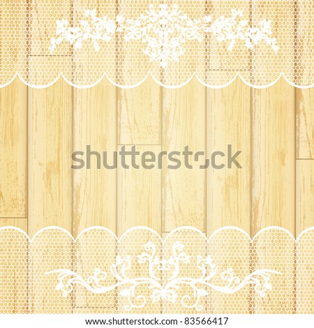lace frame at light wooden background - stock vector