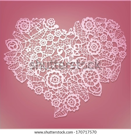 lace heart - stock vector