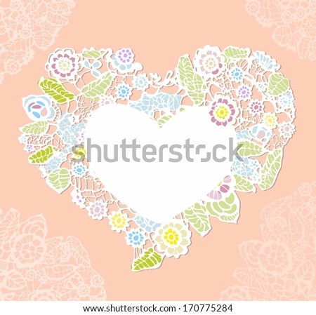 lace heart. valentine greeting card - stock vector