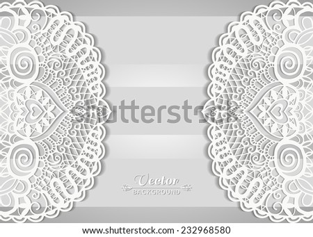 Lace invitation card design, beautiful luxury postcard, ornate page cover, vector abstract background