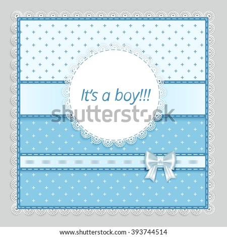 lace napkin with decorative  bows on blue-grey  background,  vector illustration - stock vector