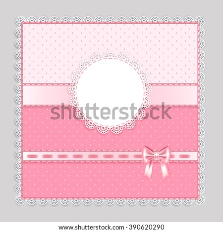 lace napkin with decorative  bows on pink  background,  vector illustration - stock vector