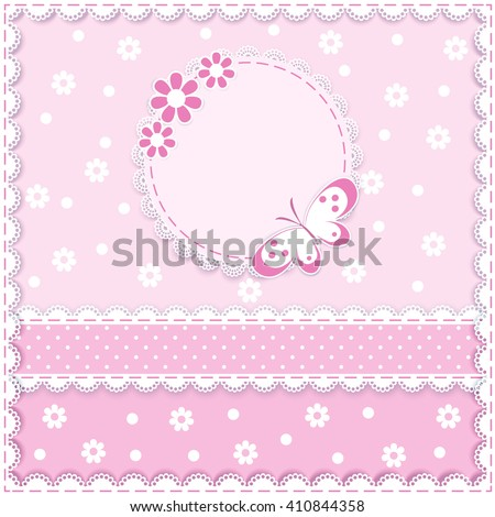 lace napkin with decorative flower and butterfly on pink  background,  vector illustration