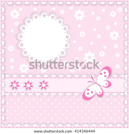 lace napkin with decorative flower and butterfly on pink  background,  vector illustration - stock vector
