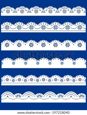 lace ornaments set on blue - stock vector