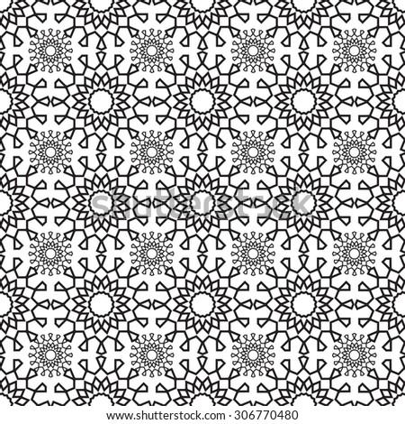 lace pattern geometric seamless monochrome - vector illustration. Symmetry patterns, lace flower - stock vector