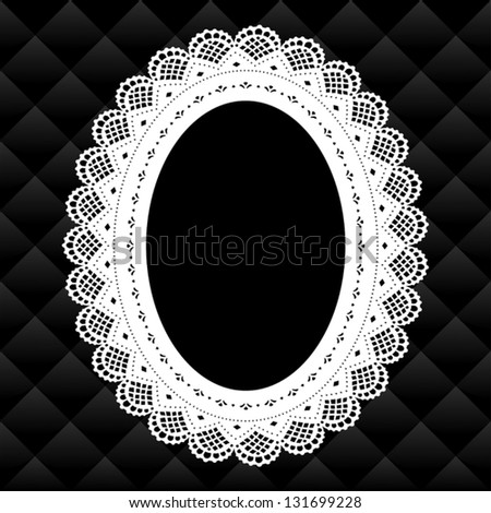Lace Picture Frame, Vintage oval doily with black diamond quilted background.  Copy space for pictures for albums, scrapbooks, holidays. EPS8 compatible. - stock vector