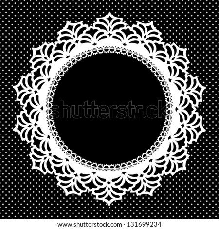 Lace Picture Frame, vintage round doily with polka dot background. Copy space for pictures for albums, scrapbooks, holidays. EPS8 includes pattern swatch that seamlessly fills any shape. - stock vector