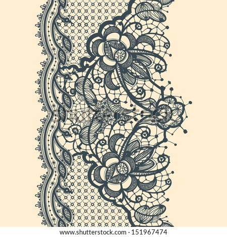 Lace Ribbon Vertical Seamless Pattern - stock vector