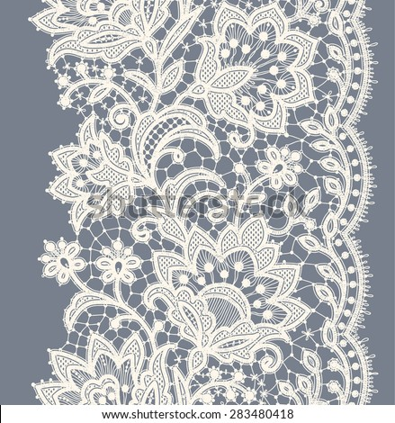 Lace Ribbon Vertical Seamless Pattern. - stock vector